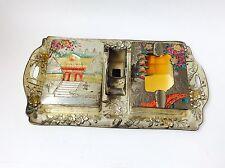 Vintage Japanese Nikko Asian Metal Smoking Set, Asian Smoking Tobacco Set Trays