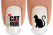 """Nail Decals #2055 CATS """"Proud Cat MOM"""" WaterSlide Nail Art Transfers Stickers"""