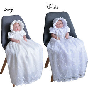 Tradition Baby Girls Lace Long Christening Gown Bonnet 0-3 3-6 6-9 Months