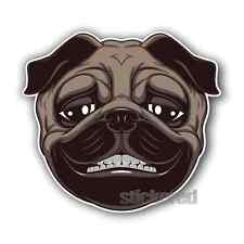 2 x PUG DOG SMILING VINYL PRINTED STICKERS CAR BIKE HELMET LAPTOP 100mm x 90mm