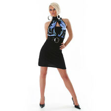 Sexy Minikleid Party Dress Blau Schwarz Clubwear HINGUCKER Abendkleid Gr 36