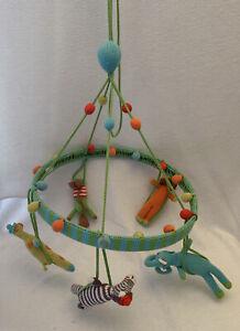 BLABLA Circus Jungle Animal Nursery Baby Mobile Blue Green Hand Knit Peru