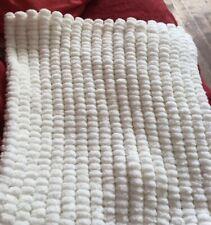 Hand Knitted Cream Pom Pom Pram Blanket Approx 49cm X 56 Cm Brand New