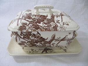 Aesthetic H. Alcock & Co LEAM England White/Brown Rectangular Soup Turene
