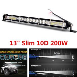 1PCS 13In 200W Led Light Bar Spot Flood Combo Work UTE Truck SUV ATV Waterproof