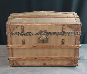 Antique Small Wooden Child's Steam Trunk for Doll or Travel Wooden Dome Lid
