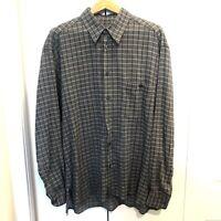 Ermenegildo Zegna Mens Button Up Shirt Large Gray Made In Italy Long Sleeve