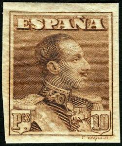 ESPAÑA 1922. Alfonso XIII. Tipo Vaquer. 10 pesetas castaño. Nuevo*. Edifil 323s.