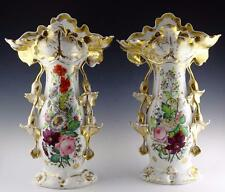 "MONUMENTAL PAIR OF OLD PARIS VASES, JACOB PETIT, 18"" HIGH, 1850"