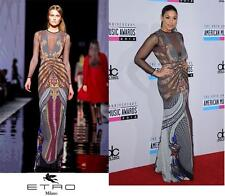NEW $5780 ETRO RUNWAY PRINTED STRETCH DRESS GOWN with MESH DETAILS It.42 - US 6