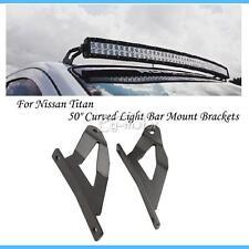 "2pcs Upper Windshield Mounts 50"" Curved Light Bar for 04-14 Nissan Titan 10 11"