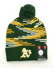 Under Armour Boys Oakland A's Ribbed Cuff Knit Pom-Pom Beanie Cap Green/Yellow