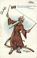 1918 TUCKS OILETTE VINTAGE COMIC OLD MAN PLAYING DIABOLO POSTCARD to Manchester