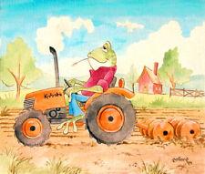 FROG Kubota Tractor by pollard 8x10 signed art print farming cartoon