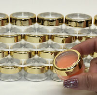 50 Cosmetic Jars Empty Beauty Makeup Containers Gold Acrylic Caps 10 Gram #3012