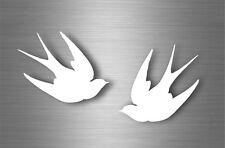 2x autocollant sticker voiture moto muraux hirondelle oiseau silhouette blanc