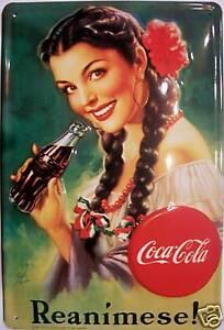 Coca Cola Reanimese! Blechschild Schild Blech Metall Metal Tin Sign 20 x 30 cm