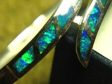 GORGEOUS SOLID SILVER OPAL INLAY BANGLE