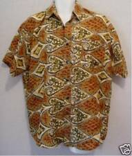 Pineapples & Pinochle Vintage MT COLLECTI?N Men's Brown SILK Club Shirt! M