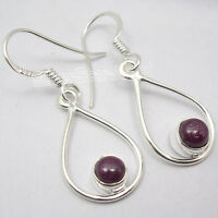 "925 Sterling Silver NATURAL RUBY Dangle Earrings 1.4"", SEMI PRECIOUS GEMSTONE"