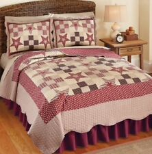 Primitive Country Star Quilt Full Queen With Shams Reversible Patchwork Quilt