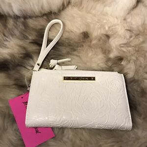 NWT Betsey Johnson Wristlet Wallet - Floral Embossed - Pretty Cream