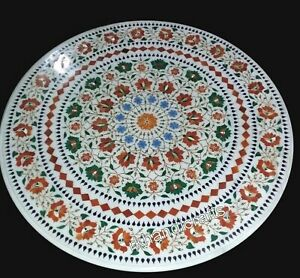 Marble Island Table Top Inlay Floral Pattern Coffee Table for Office 30 Inches