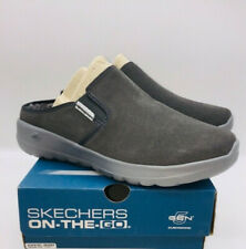 Skechers Women's On The Go Joy Snuggly Water-Repellent Suede Clogs Charcoal Grey