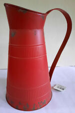 Antique Look Red Tin Pitcher Can Kitchen Rustic Farmhouse Decor