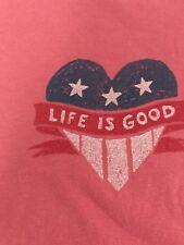 LIFE IS GOOD  Women's Medium S/s Heart/flag