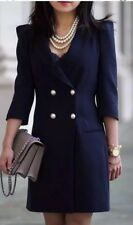 ZARA New Navy Blazer Dress With Puff Shoulder Pearls Buttons XS Uk 6/8