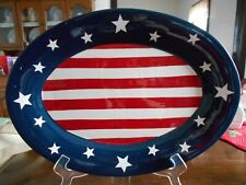 """Flag Platter 16 1/4"""" W Oval Home & Garden Party Americana Ceramic Red White Blue"""