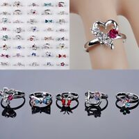 20x Großhandel Nette Ring Einstellbar Kristall Silber überzogene Kinder Ringe