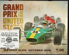 Grand Prix o/t United States at Watkins Glen 1968 Program & Ticket Stub Excellen