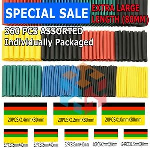 360pcs 2:1 Heat Shrink Tube Tubing Sleeving Wrap Wire cable Insulated Assorted