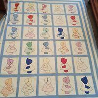 Sunbonnet Sue Handmade Quilt Blanket Girl Bonnet Patchwork Distressed Vintage