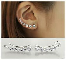 Elensan 7 Crystals Ear Cuffs Hoop Climber S925 Sterling Silver Earrings