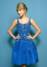 Oscar de la Renta Resort 2014 Embroidered Blue Floral Silk Cocktail Dress US 8