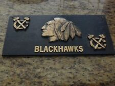 "NHL - CHICAGO BLACKHAWKS - Custom Cast Bronze 3-D - ""man cave"" - plaque"