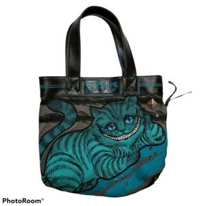 Loungefly Disney Cheshire Cat Large Teal Black Gray Tote Bag Alice in Wonderland