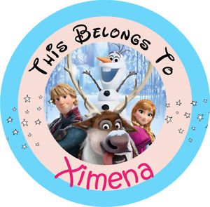 24 Round Personalized DISNEY FROZEN Property Stickers Name Tags School Labels