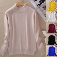 Women's Slim Knitted Half-Turtleneck Soft Cashmere wool Jumper Pullover Sweaters