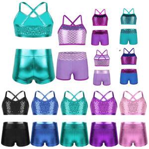 2Pcs Girls Ballet Dance Costume Shiny Sequined Tank Top+Bottoms Sets Dancewear