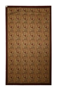 Needlepoint Rug Wool Carpet Brown Area Rug FRENCH Handwoven 97 x 150 cm