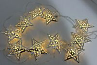 10 LED 1.35m Silver Star Indoor Christmas Fairy String Lights Battery Operated