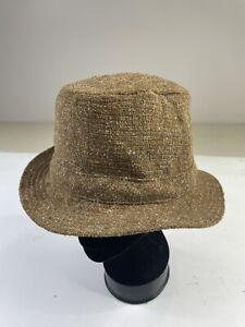 Vintage David Hanna & Sons Ireland Wool LL Bean Bucket Walking Hat 7 1/8 Tweed
