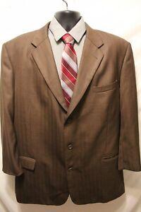 Mens Caravelli 3 Button Suit Sz 48L Jacket 43x25 Pleated Polyester Blend Brown