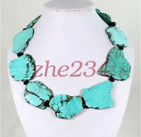 100% natural Shining Crystal Turquoise Slice Handmade Princess Necklace Gift @