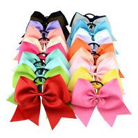 8 Inch Cheer Bows Girls Cheerleading Bows Grosgrain Ribbon  Elastic Band Baby