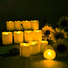 6 Yellow Flicker Battery Power LED Flame Candles Tealight -Remote Control +Timer